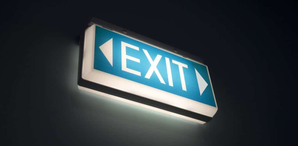 An image of a glowing exit sign